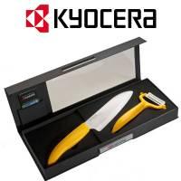 Kyocera - Set Coltello Santoku 140mm + Pela Ortaggi Giallo con lama Bianca