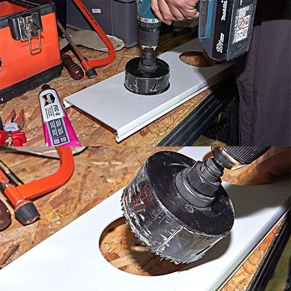 3. Creare i fori per inserire i vasi a rete nelle canale
