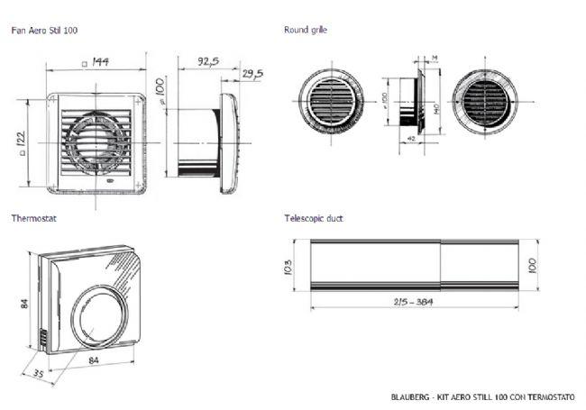 Kit Blauberg Aero Still 100 84M3//H Kit Aspirazione Bagno